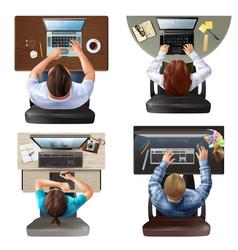Top view people set vector