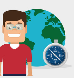 Tourist man with planet and compass vector