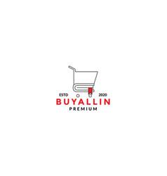 Trolley shop line minimalist icon logo design vector