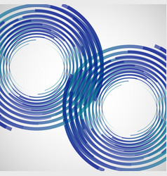 Two blue circles made lines white vector