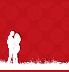 valentines day couple on a red pattern background vector image