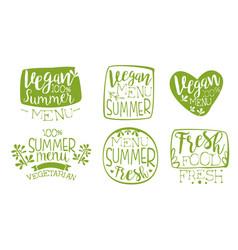 vegan summer menu green hand drawn badges set vector image