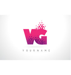 Vg v g letter logo with pink purple color and vector