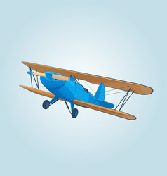 vintage blue biplane in sky vector image