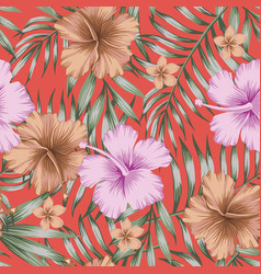 violet and brown hibiscus green palm leaves vector image