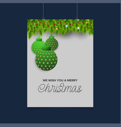 We wish you merry christmas green background vector