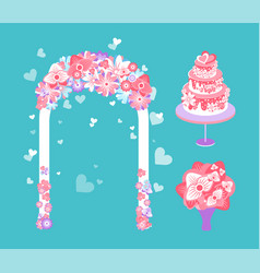 Wedding ceremony elements arch and cake bouquet vector