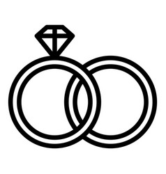 Wedding rings icon outline style vector