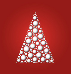 White christmas tree of white 3d snowballs on red vector