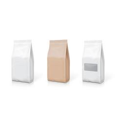 white foil or paper snack bag set packaging vector image