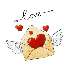 winged mail love envelope with heart and vector image