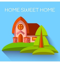 with cute house in flat style vector image