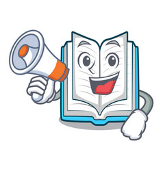 With megaphone opened book on the cartoon table vector