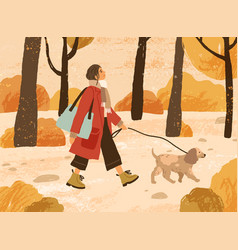 young woman in trendy warm outwear walking dog vector image