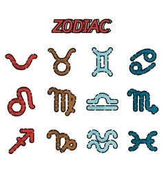 Zodiac flat icons set vector image
