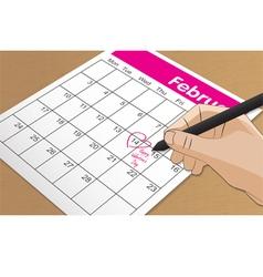 calendar 14 feb vector image vector image