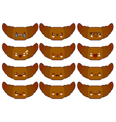 cartoon funny croissant characters isolated on vector image