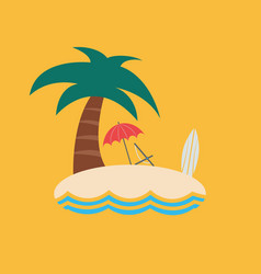 cute island with a palm tree isolated on a yellow vector image