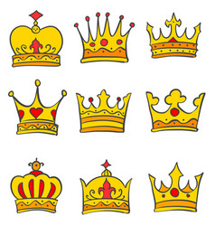 glamour crown style doodle set vector image vector image