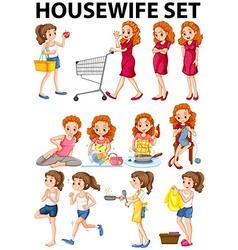 Housewife doing different activities vector