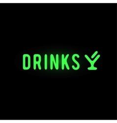 Light neon drinks label vector image