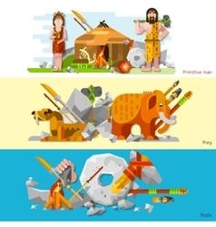 Prehistoric Stone Age Caveman Banners vector image vector image