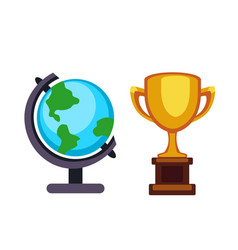 trophy champion cup and earth globe flat vector image