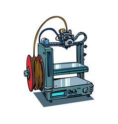 3d printer manufacturing isolated on white vector image