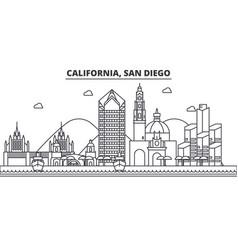 california san diego architecture line skyline vector image vector image
