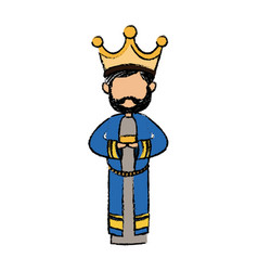 cute cartoon wise king manger character vector image vector image