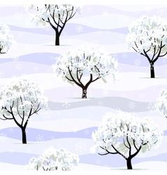 trees in snow in winter garden seamless vector image