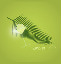 Tropical cocktail with lime slice and palm leaves vector
