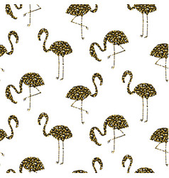 flamingo gold glitter silhouette seamless vector image