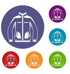 Men winter jacket icons set vector