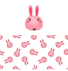 Rabbit Head Icon And Pattern vector image vector image