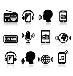 Radio podcast app on smartphone and tablet icons vector image vector image
