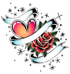 rose heart ribbon vector image vector image