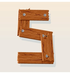 wooden letter s vector image vector image