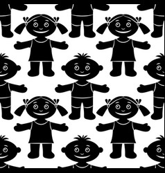 children seamless silhouette vector image