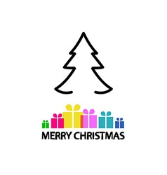 Christmas Card Outline Tree and Colorful Gift vector image vector image