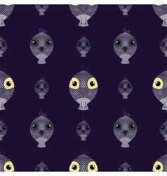 Dark purple seamless pattern owl background vector image vector image