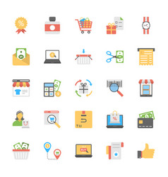 flat icons of shopping and commerce vector image