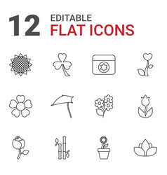 12 floral icons vector