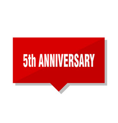 5th anniversary red tag vector