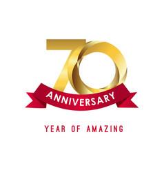 70 year anniversary year amazing template vector