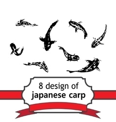 8 japanese fish of carp for design vector image