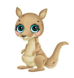 A cute cartoon kangaroo with big eyes vector