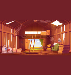 abandoned barn interior with broken furniture vector image