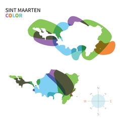 Abstract color map of Sint Maarten vector image