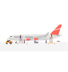 Airline workers or engineers maintain a plane flat vector